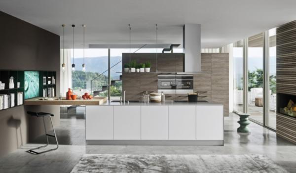 design-kitchen-cucina-moderna-modern-style-zone-shop-brunetti-home-evolution-evoluzione-laccata-opaca-lucida-piano-snack-legno-rovere-naturale-bianco-white-wood-luxury-modelli-cantinette