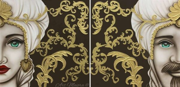 TMKG2_king marrone oro donna_coppia_set_due_pezzi