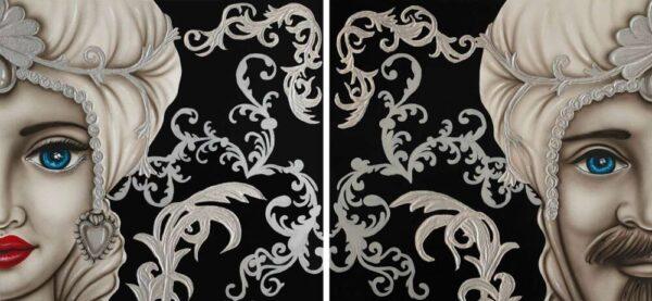 TMKG4_King nero argento donna_uomo coppia di quadri